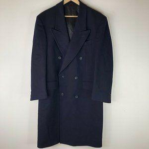 Strachan 100% Wool Overcoat Topcoat Mens L XL Business Winter Navy Blue
